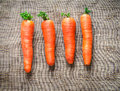 Carrots on brown fabric background a synthetic Royalty Free Stock Image
