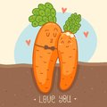 Carrots cartoon characters cute in love card for st valentines day Stock Image