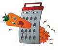 Carrots and grater angry grinds orange Royalty Free Stock Photo