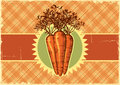 Carrots vintage标签设计的背景菜 免版税库存图片