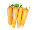 Carrots on white fabric background Royalty Free Stock Image