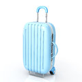 Carry case of blue color to white background Stock Photos
