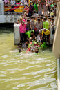 Carry chinese goddess palanquins across the river a are carried by people that have faith on february in pattani thailand Stock Images