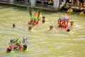 Carry chinese goddess palanquins across the river a are carried by people that have faith on february in pattani thailand Stock Photos
