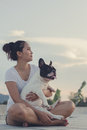 Carry on french bulldog girl and sitting Royalty Free Stock Photo