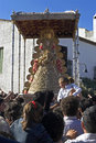 Carrying around the virgin of el rocio spain province huelva region andalusia pilgrims want to touch shrine and statue romería de Royalty Free Stock Photography