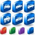 Cars 3D Button Set Stock Images