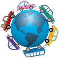 Cars around earth Royalty Free Stock Image