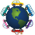 Cars around earth globe Royalty Free Stock Images