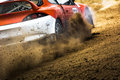 Cars on the autocross racing in open air with dust Royalty Free Stock Photo