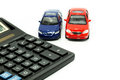 Cars and calculator two keyboard Royalty Free Stock Photo