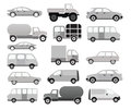 Cars collection black white vector illustration Stock Photography