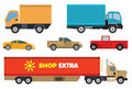 Cars collection vector illustration of simple vehicles symbols Stock Images