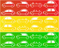 Cars in colors of traffic lights Royalty Free Stock Photo