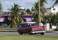 Cars of cuba restored s vintage station wagon taxi on the on the streets playa del este Royalty Free Stock Photography
