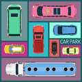 stock image of  Cars of different size and color seamless pattern vector illustration. Car parking. Top view of parking zone with a