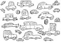 Cars doodle icons set hand drawn Royalty Free Stock Photo