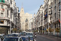 Cars at gran via street madrid march on march in madrid spain in late s modern while called avenida de rusia then avenida Royalty Free Stock Photos