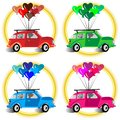 Cars and heart balloons