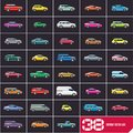 Cars icons set, flat style car icons, different vector car types color silhouettes,