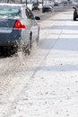Cars on Icy Road Royalty Free Stock Photo