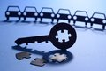 Cars with jigsaw puzzle key Royalty Free Stock Photo