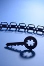 Cars with jigsaw puzzle key cut out Stock Photo