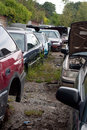 Cars in the junk yard view of rows of old junked an automotive salvage Royalty Free Stock Photography
