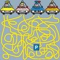 Cars labyrinth a game for children and adults find your way to the parking lot Royalty Free Stock Photos
