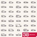 Cars line icons set, different vector car types linear silhouettes, car logo deign