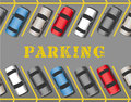 Cars park in store parking lot rows many parked or business filling all the spaces Royalty Free Stock Photos