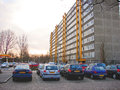 Cars parked in the morning city gorinchem netherlands february Royalty Free Stock Image