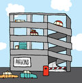 Cars on parking garage cartoon multi level Royalty Free Stock Photo