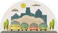 Cars pollute the environment smoke from cars covers the house a and sky vector flat illustration Stock Photos
