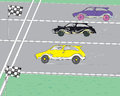 Cars race three cartoon like competition concept hand drawn illustration and vector Royalty Free Stock Image