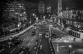 Cars on road black and white photo of Stock Image
