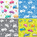 Cars on the road. Seamless kids pattern set.