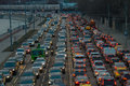 Cars stands in traffic jam moscow russia april on the city center moscow russia moscow mayor sobyanin reconstructs suburban Royalty Free Stock Images