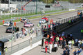 Cars and technicians on the grid at Monza circuit Royalty Free Stock Photography