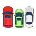 Cars top view. SUV, hatchback, wagon, sedan