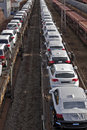 Cars on train waiting delivery 1 Stock Photography