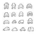 Cars trucks and vans cartoon Royalty Free Stock Photo