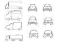 Cars vans and truck line icons set Royalty Free Stock Photo