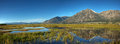 Carson valley reflection panorama a of jobs peak and the surrounding mountains reflecting off of nevada Stock Image
