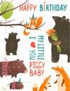 Cartão de aniversário com forest animals mothers e Imagem de Stock