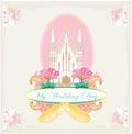 Cartão de casamento do vintage com anéis e igreja católica Imagens de Stock Royalty Free