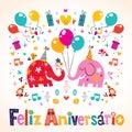 Cartão de feliz aniversario portuguese happy birthday Imagens de Stock