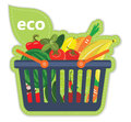Cart beneficial eco supermarket fresh food fruit and vegetables products in basket vector illustration Stock Photo