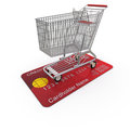 Cart is on the buyer's credit card Stock Photos