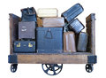 Cart full of old-fashioned luggage Royalty Free Stock Photos